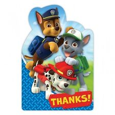 Paw Patrol Chase, Marshall & Rocky Fête D'anniversaire THANK YOU Cartes & Enveloppes x8