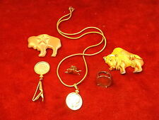 LOT OF OLD VTG COSTUME JEWELRY, INCL GOLD PLATED BUFFALO NICKELS, BROOCH, MAGNET