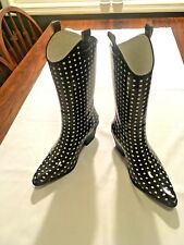 Bit & Bridle Womens Rain Boots Rubber Cowboy Polka Dot Black White Muck Size 8
