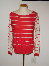 SPARROW FOR ANTHROPOLOGIE RED & CREAM LONG SLEEVE WOOL BLEND SWEATER SIZE M