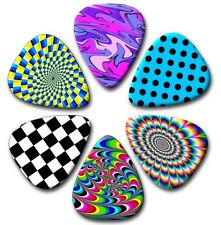 6 Retro~Funky~Psychedelic Guitar Picks ~ Printed Both Sides