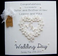 +LARGE Personalised Wedding Day Engagement Congratulations FlowerHeart Card