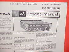 1967 1968 MOTOROLA FM STEREO MULTIPLEX AUTO RADIO SERVICE SHOP MANUAL FM991X