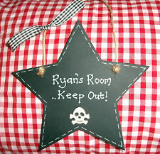 Personalised Skull & Cross Bones Pirate Boys Room Name Plaque Keep out