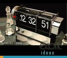 Stainless Auto Flip Desk Clock Retro Style Gear Design Alarm Clock w Mirror Base