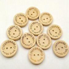 15MM mixed Lunares De Madera Botones 2 Agujero Redondo Artesanía Coser Scrapbook-Var Qty