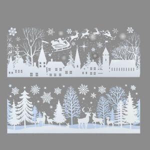 2 Long Snow Village Scene Window Decal Sticker Christmas winter decoration Stick