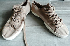 BNWT Men's canvas beige natural raw edge lace up pumps shoes casual summer 8 NEW