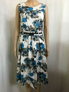 AVOCADO SIZE 12 FLORAL SLEEVELESS FIT AND FLARE STRETCH DRESS