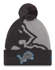 "Detroit Lions New Era NFL ""Logo Whiz 3"" Cuffed Knit Hat with Pom - Gray"
