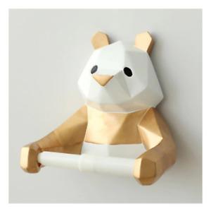 Geometric Panda Bear Resin Toilet Paper Roll Holder Towel Rack Kids Bathroom
