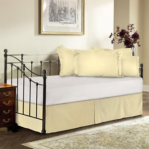 Harmony Lane Day Bed Tailored Bedskirt with 14'' Drop , Bone Sateen Stripe Bedsk