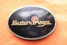 Vintage Johnson Held Hand Made Western Images Coral Inlay Belt Buckle