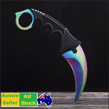 Outdoor KARAMBIT NECK KNIFE Survival Hunting Fixed Blade fade colourful Sheath