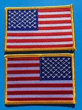 """SET OF 2 - AMERICAN USA FLAG EMBROIDERED PATCH LEFT RIGHT GOLD BORDER (3½ x 2¼"""")"""