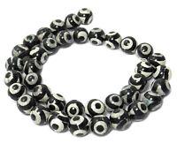 😏 Achat DZI Beads Perlen Kugeln mit schwarzem Kreismuster 8 & 10 mm - Strang 😉