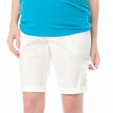 NEW OH BABY MOTHERHOOD UNDER BELLY WHITE BERMUDA MATERNITY SHORTS LARGE SEALED