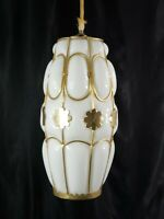 Mid Century Pendant Lamp Light Vintage Milk Glass Globe  Brass Cage Floral Motif