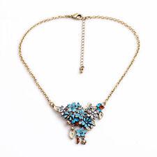 Exquiste Anthropologie Everine Blue Enamel Flower Gold Chain Necklace