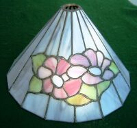 OLD VINTAGE LEAD ON COPPER GLASS LAMP/LIGHT SHADE ART DECO / NOUVEAU STYLE