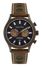 Orologio Uomo NAUTICA NAI19538G Chrono Pelle Marrone Nero Beige Sub 100mt NEW