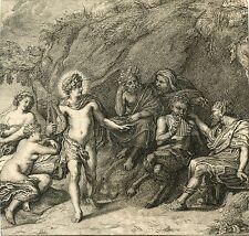 Judgment of Midas ORIGINAL ANTIQUE ENGRAVING AFTER 1640 VAN DEN HOECKE PAINTING