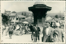 Yougoslavie, Sarajevo. Marché et Minaret de la Mosquée Husrev Bey (Bosnie Herzég