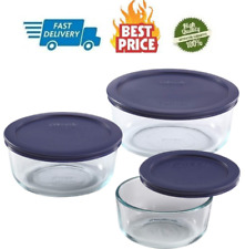 Pyrex Simply Store Glass Round Food Container Set with Blue Lids (6-Piece)