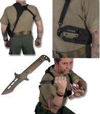 The Kensei Tactical KNIFE Fixed Blade Shoulder Harness Sheath Free Shipping USA