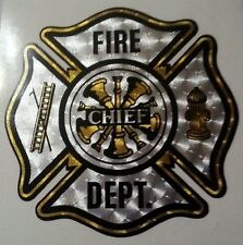 """Chief Reflective Decal, Fire Department, approx 2.75"""" wide  #FD81"""
