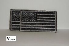 US USA American Flag patch BLACK and GRAY GREY **LOT of 2**