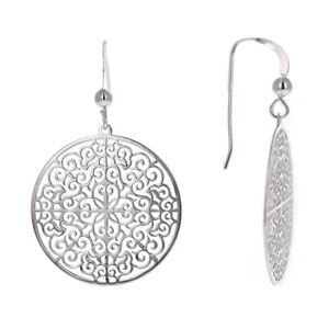 Fancy Disc Sterling Silver Dangle Drop Earrings Antiqued Rhodium Finish Design