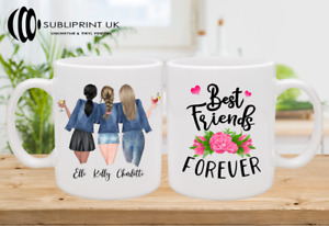 Best Friend / Sister / Cousin / Colleague Personalised Custom Mug - Three Person