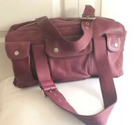 SIGRID OLSEN WOMEN'S SATCHEL RED SOFT PEBBLED LEATHER HANDBAG