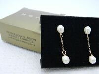NIB 1997 AVON Pearlesque Illusion Pierced Earrings Gold Tone Surgical Steel Post