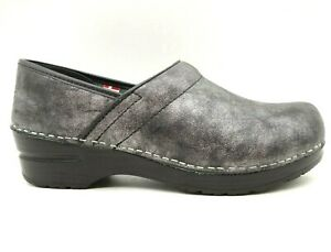 Sanita Pewter Leather Slip On Comfort Clogs Shoes Women's 38 / 7 - 7.5