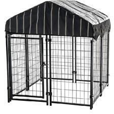 Lucky Dog Single-Door Outdoor Welded Wire Pet Kennel with Cover,4Lx4Wx4.5H