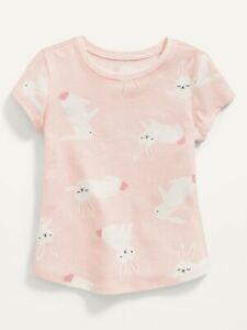 Old Navy Toddler Girl ~ Pink Bunny ~ Short Sleeve T-Shirt Tee ~ Size 18-24M - 5T