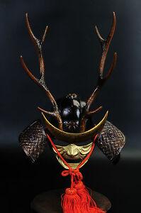 Japanese Vintage Samurai Helmet  shikanosuke kabuto with a mask Tsushima