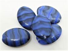 20(mm) BLACK/BLUE MARBLE OLIVE OBLONG CUSHION CZECH GLASS BEADS - D058 - (8pcs)