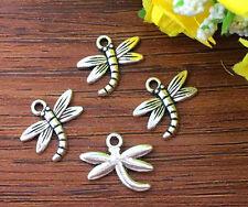 8pcs dragonfly Tibetan Silver Bead charms Pendants DIY jewelry 16x18mm