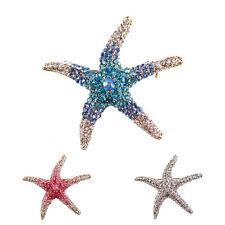 Optional Adorable Blue Crystal Rhinestone Starfish Brooches for women wedding QA