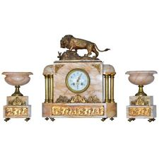 Fine Egyptian Revival Onyx Doré Bronze Clock and Garnitures after Bayre