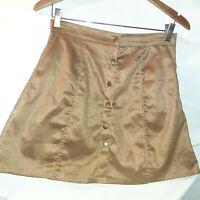 "Abercrombie & Fitch Faux Suede Tan Mini Skirt Snap Button Front  Size M 30"" wais"