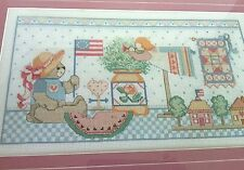 Cross Stitch Hand Crafted Nursery Picture Kid's Room Wooded Framed Pink Boarder