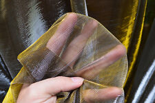 M13 Gold Silver Metallic Iridescent 2 Tones Stretch Mesh Net Fabric Material