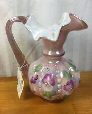 FENTON Art Glass HP Carnival Pink Creamer Pitcher Vase, Signed W/Tag & Label!(G)