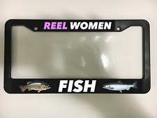 REEL WOMEN FISH WOMAN GIRL TROUT FISHING LURE LAKE Black License Plate Frame NEW