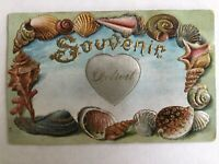 Vintage Silk Heart Postcard Detroit Souvenir with Embossed Victorian Shells