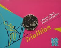 2012 London Olympic Games 50p Sports Collection Uncirculated Coin Triathlon